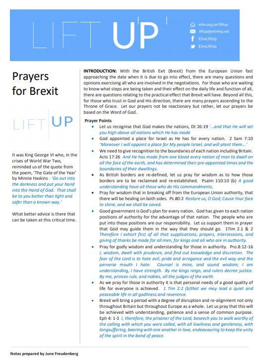 Elim Brexit prayers Dec 2018 snip
